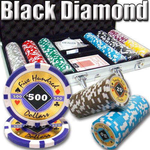 NEW 300 PC Black Diamond 14 Gram Clay Poker Chips Set Aluminum Case Pick Chips