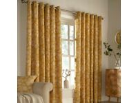 NEW Furn Irwin Woodland Design Ringtop Eyelet Curtains (Pair)-Ochre-(W)90x(D)90/229X229CM-RRP £65