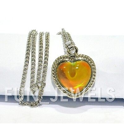 Beautiful Vintage Multi Color Changing Heart Mood Stone Necklace Free Chart](Mood Necklace Color Chart)