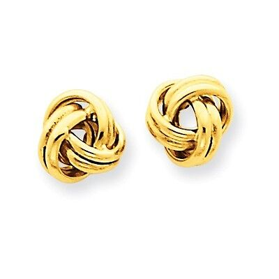 14K Solid Yellow Gold Love Knot Post Stud Earrings