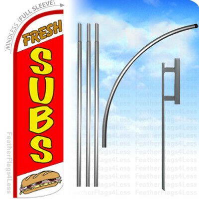 Fresh Subs - Windless Swooper Flag 15 Kit Feather Banner Sandwiches Sign - Rq