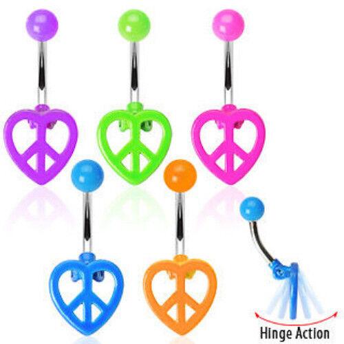 B#220 - 5pcs Neon Peace Heart Belly Rings Navel naval