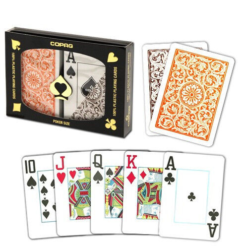 New COPAG Plastic Playing Cards Poker Size Jumbo Index Orange Brown FREE CUTCARD