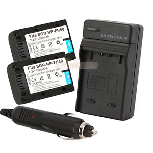 2 NP-FH50 Battery+Charger for SONY A230 A330 A380 A390 NP-FH60 FH70 FH30 FH100