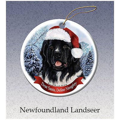 Newfoundland Landseer Newfie Howliday Porcelain China Dog Christmas Ornament