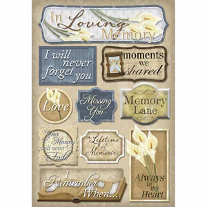 Karen Foster Design In Memory Collection Cardstock Stickers In Loving Memory
