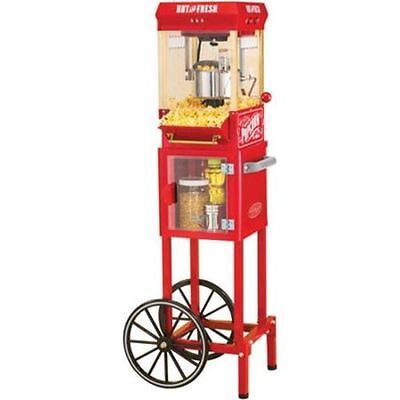 الة صنع الفشار جديد Nostalgia Electrics Popcorn Cart Machine Popper Maker Vintage Red Stand Movie