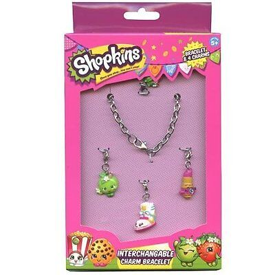 Shopkins Girls Charm Bracelet Painted Polly Painted Straw/Wedge/Apple/Lip