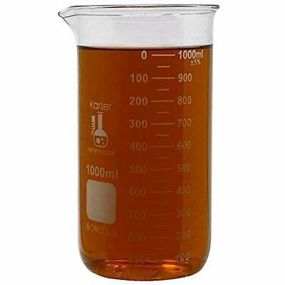 1000ml Beaker Tall Form 3.3 Borosilicate Glass Single Scale Karter Scientific...