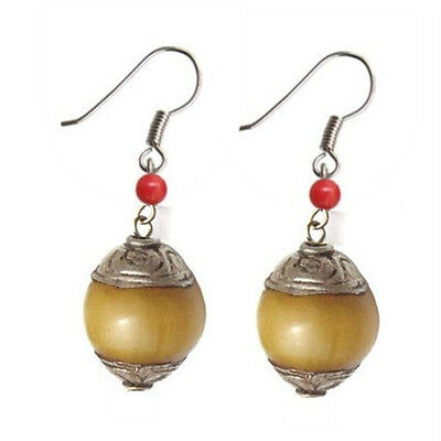 - Pair Tibetan Red Coral Sterling Silver Repousse Beeswax Amber Dangle Earrings