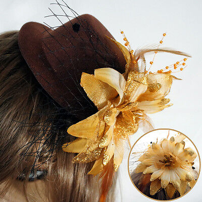 Brown Sparkly Gold Flower Victorian Steampunk Mini Top Hat Halloween Costume - Gold Top Hats