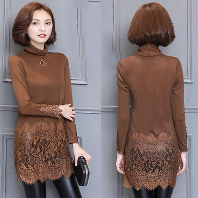 Winter Women Plus Size Turtleneck Long Sleeve Lace Tunic Bottom Shirt Dress Tops