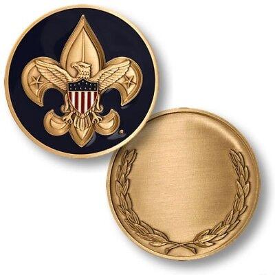 BSA Boy Scouts of America Fleur-de-Lis with Eagle Engravable Challenge Coin (Bsa Fleur De Lis)