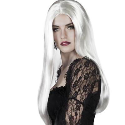 Hexen Perücke Langhaar weiß Damen Hexe Vamp Perrücke Halloween 6098 ()