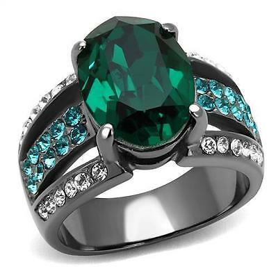 - Green Cocktail Ring 14 x 10mm Oval CZ Lt Black IP Stainless Steel w Aqua Accents
