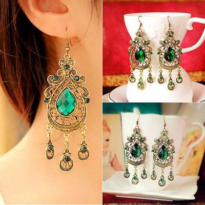 Fashion Women Green Crystal  Gold Plated Hook Ear Stud Drop Dangle Earrings