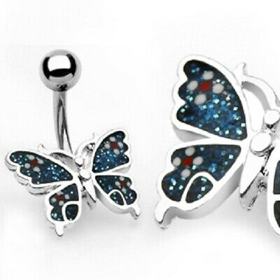 Butterfly Belly Button Ring Pierced Navel CZ Paved Surgical Steel -
