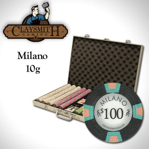 NEW 1000 PC Milano Pure Clay 10 Gram Denomination Poker Chips Set Aluminum Case