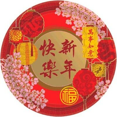 Chinese Paper Plates (CHINESE NEW YEAR SMALL PAPER PLATES (8) ~ Birthday Party Supplies Cake)