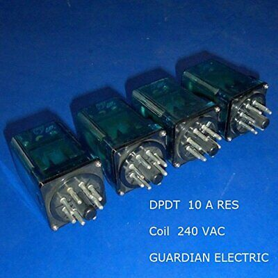240 VAC, 8-Pin Octal Base Plug-In Relay 10A DPDT (Lot of 4 pcs)  220V Guardian  Plug-in Relay 8 Pin