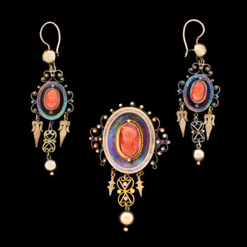 Vtg Victorian 15k Gold Coral Cameo Pin Pendant Dangle Earrings Decades In Vault!