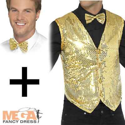 1920s Circus Costume (Sequin Gold Waistcoat + Tie Mens 1920s Fancy Dress Adults Circus Cabaret)