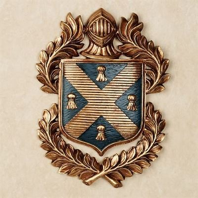 Leaf Wall Plaque (Hooded Knight Plaque Shield Wall Crest Coat of Arms Gold Acanthus Leaves)