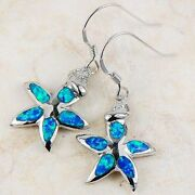 Sterling Silver Blue Fire Opal Earrings