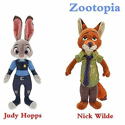 NEW Zootopia-Plush-Dolls Bunny Rabbit Officer Judy Hopps Fox Nick-Wilde-Toys 2x