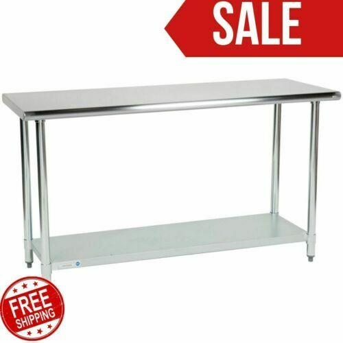 "24"" x 60 Adjustable Table Work Prep Undershelf Restaurant Indoor Stainless Steel"
