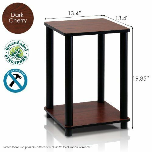 Details About Modern End Table Light Cherry Side Living Room Accent 2 Tier Stand
