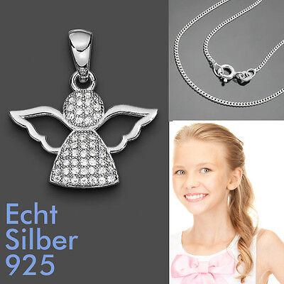 Baby Taufe Schutz Engel Anhänger Kinder zur Kommunion mit Kette Echt Silber 925