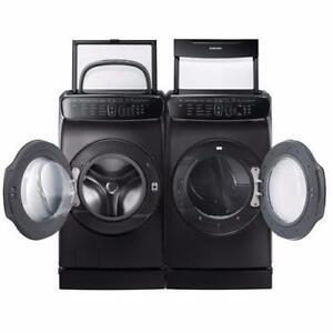 Ensemble Laveuse à chargement Frontal de 6.9 pi³ + Sécheuse au gaz de 7.5 pi³ Flex Dry en acier inoxidable noir Samsung