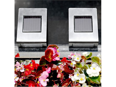 4 x Solar Powered Ultra Fulgid Stainless Steel Wall Mounted Path Light