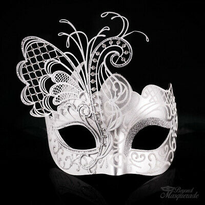 White and Silver Butterfly Venetian Metal Masquerade Mask for Women - Butterfly Masquerade Mask