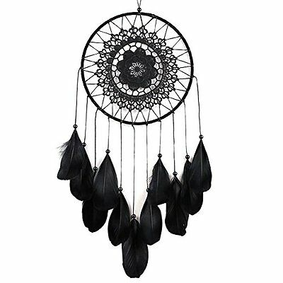 Dream Catcher Decor Feather Bead Hanging Decoration Ornament Gift (black)
