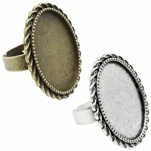Ring Metal Alloy Blank Oval Cabochons Setting Bezel Base DIY Accessories Making