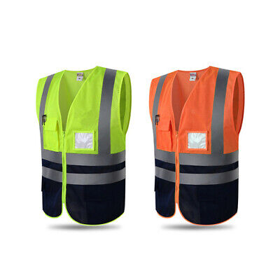 Hi-visibility Reflective Safety Vest Engineer Construction Gear With Pockets