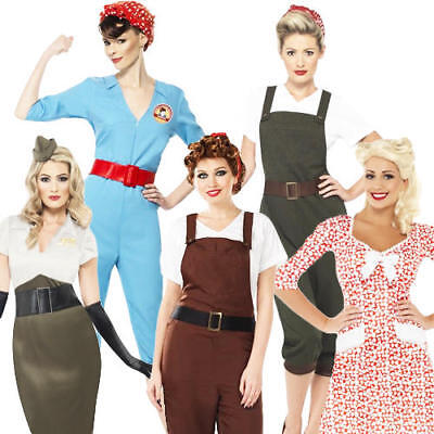 1940s Army Girls Fancy Dress WW2 40s Wartime Uniform Womens Costume Outfits - 40s Outfits