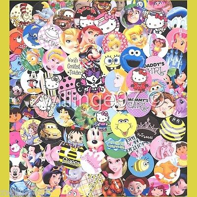 100 Precut assorted BOTTLE CAP IMAGES Variety 1 inch discs Children themed