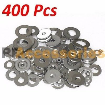 "400 Pcs Zinc Plated Steel Flat Washers Set Assortment Kit 3 Size 1/2"" 5/8"" 11/16"
