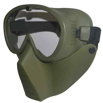 GREEN New Protective Airsoft Paintball Tactical Full Face Google Clear Lens -