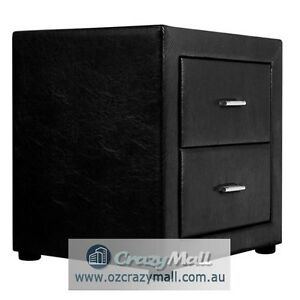 2 Drawers PU Leather Bedside Table Black White Available Melbourne CBD Melbourne City Preview