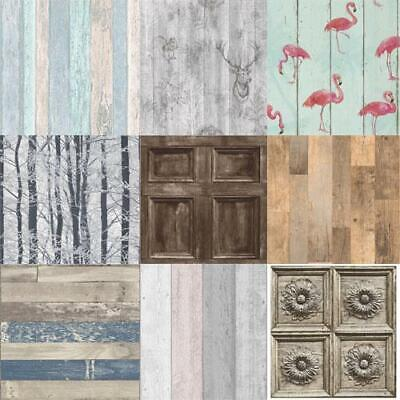 Realistic Wooden Effect Wallpaper Wood Panel/Planks Glitter Shimmer Textured