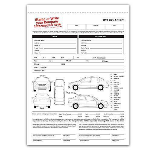 Vehicle Transport Bill of Lading (BOL) Form, 3 Part Carbonless (100 Sets) Letter
