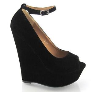 black wedge shoes ebay