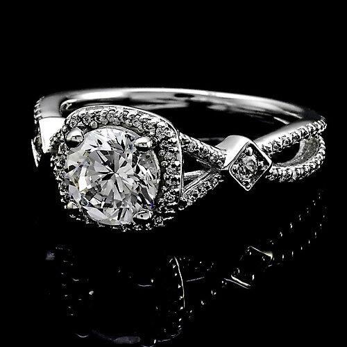 1.59 CT ROUND CUT DIAMOND HALO ENGAGEMENT RING 14K WHITE GOLD ENHANCED