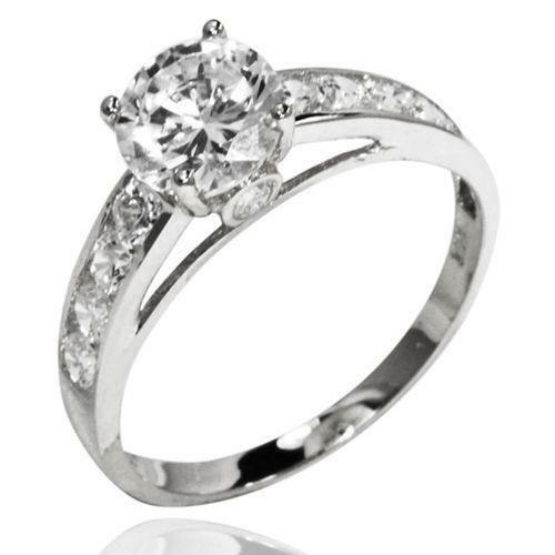 White Gold CZ Engagement Ring