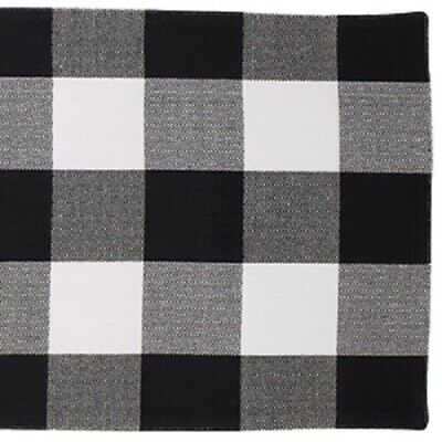 "BUFFALO BLACK TABLE RUNNER WHITE 13"" x 54"" Kitchen Cotton Lg 3"" Grid Farmhouse"