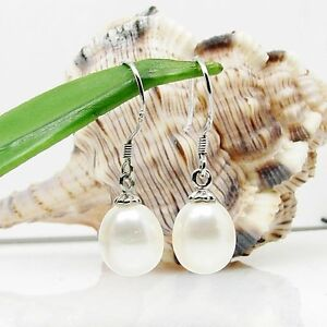 Genuine Freshwater 6.5-7.5mm White Pearl Dangle Earrings Sterling Silver